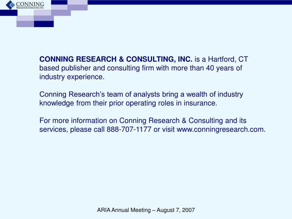 CONNING RESEARCH & CONSULTING, INC.