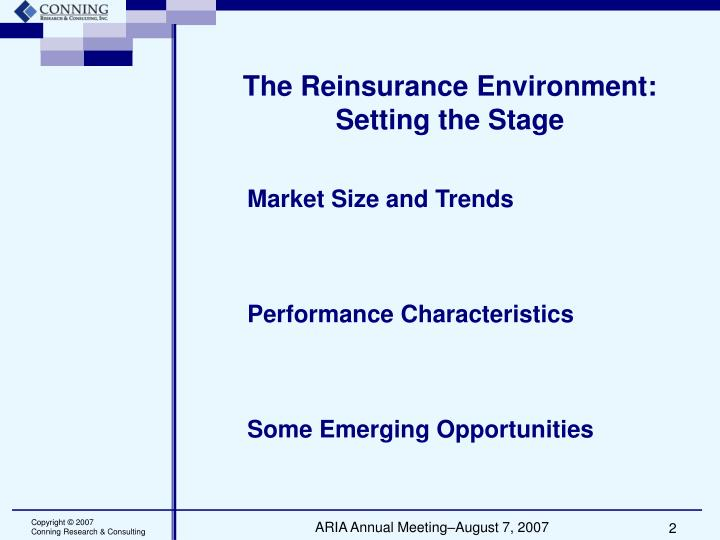 The reinsurance environment setting the stage
