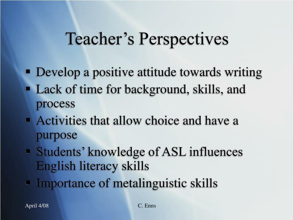 Teacher's Perspectives