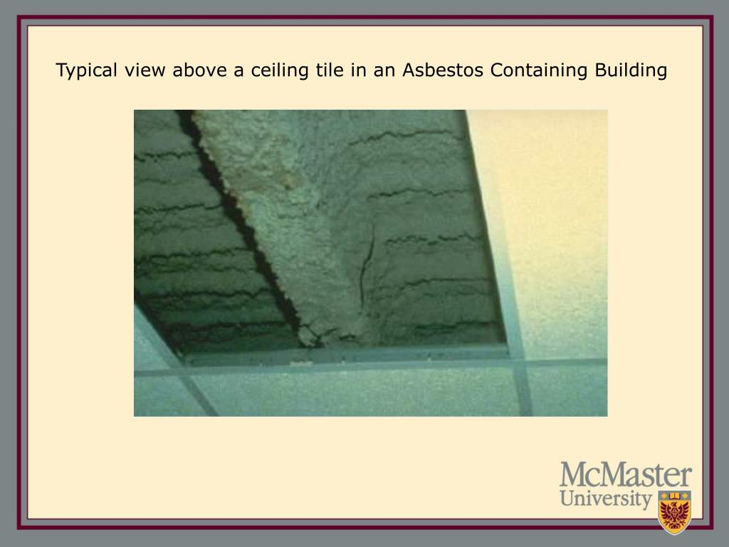 Typical view above a ceiling tile in an Asbestos Containing Building