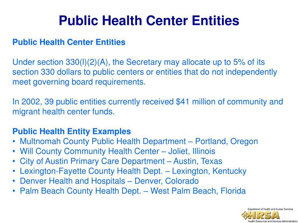 Public Health Center Entities
