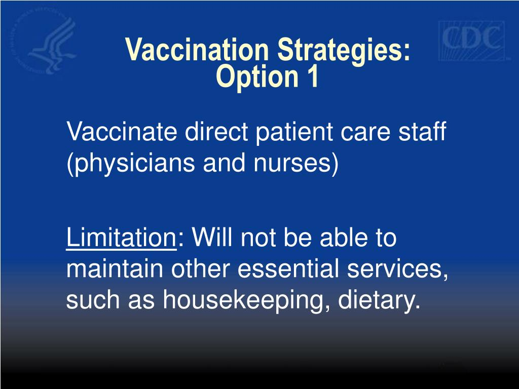 Vaccination Strategies:  Option 1