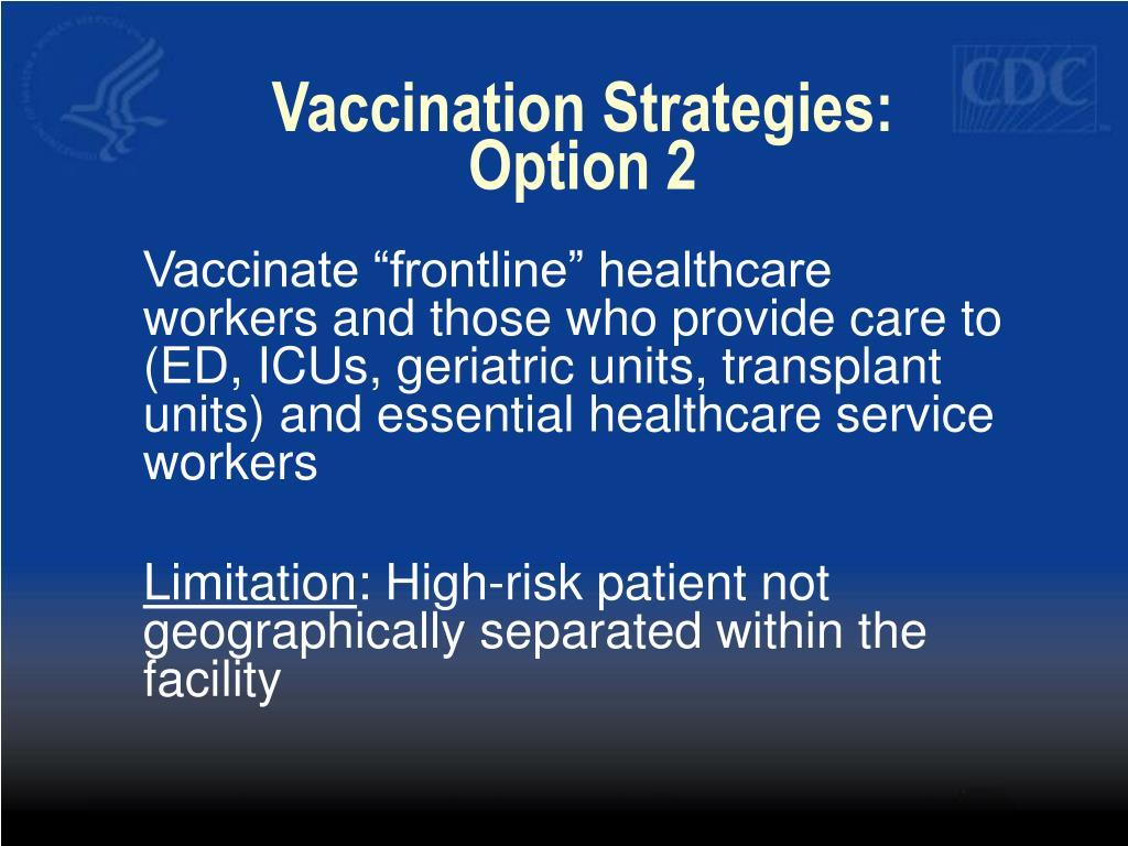 Vaccination Strategies:  Option 2