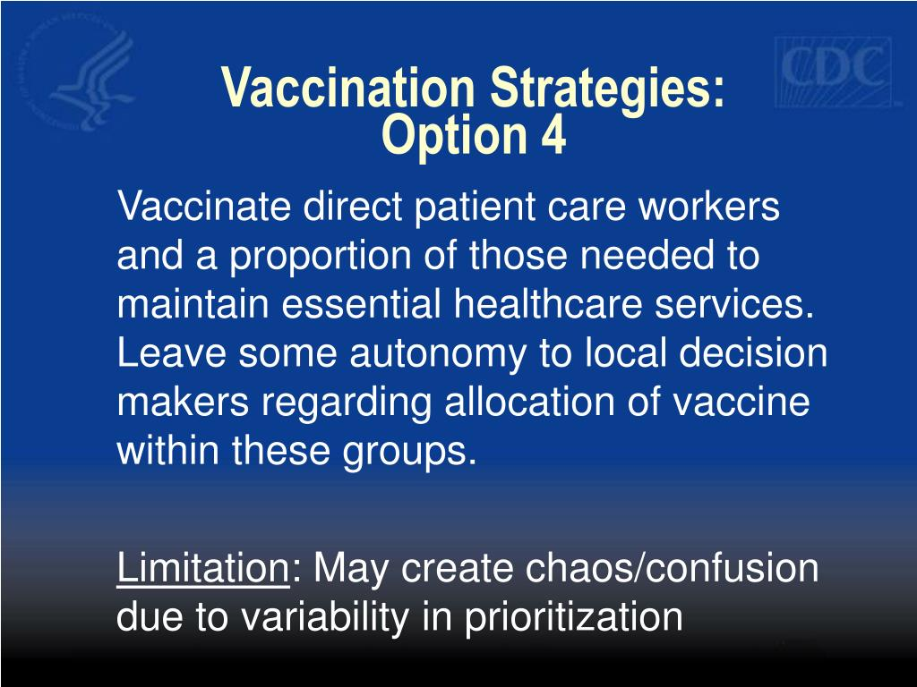 Vaccination Strategies:  Option 4