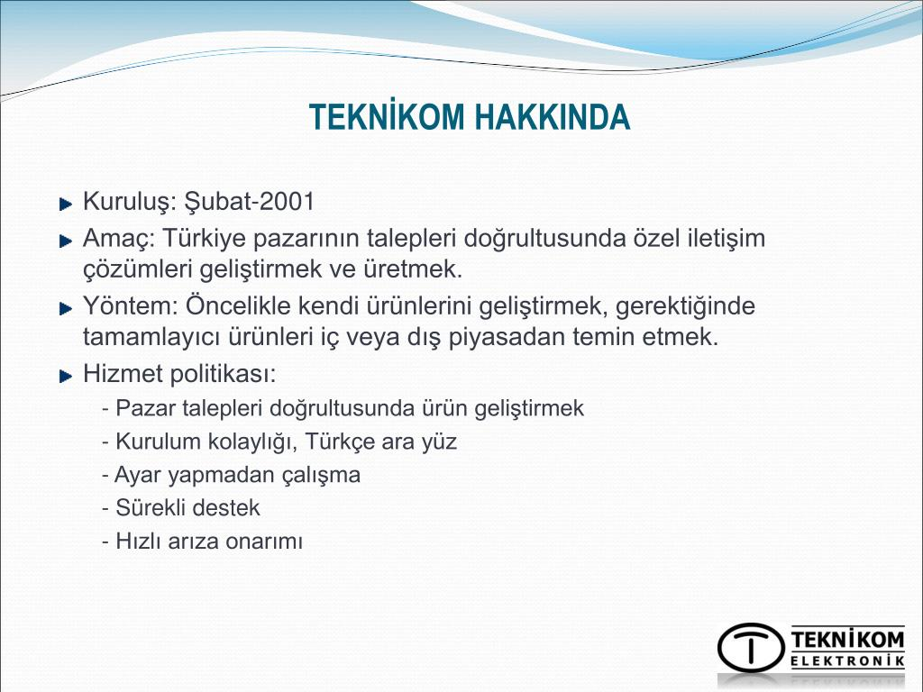 TEKNİKOM HAKKINDA
