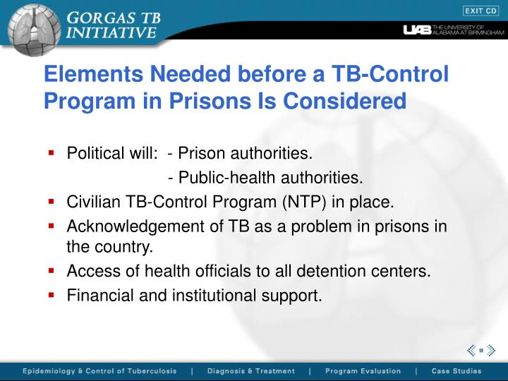 Elements needed before a tb control program in prisons is considered