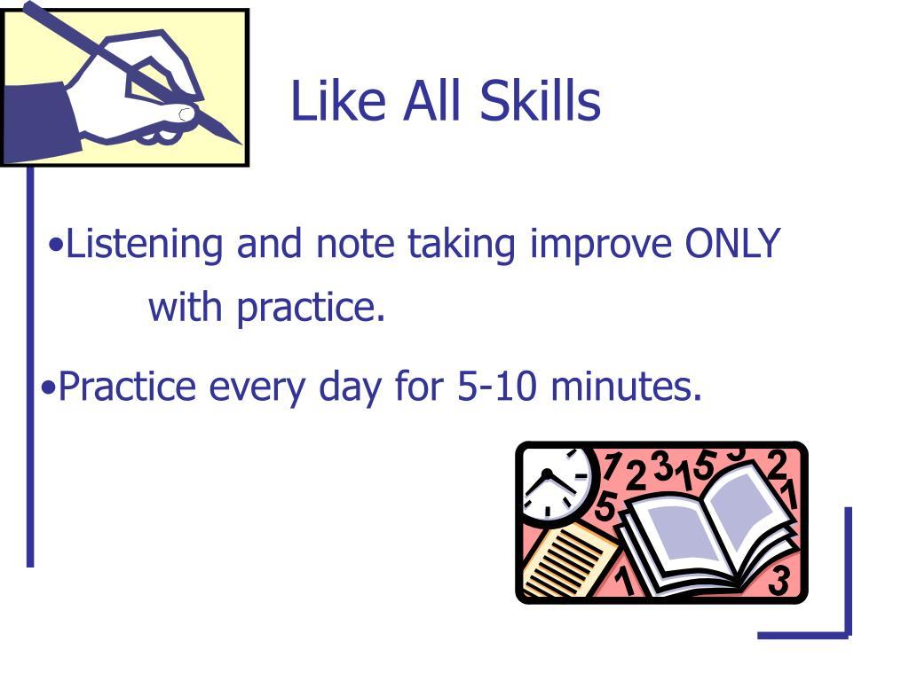 Like All Skills