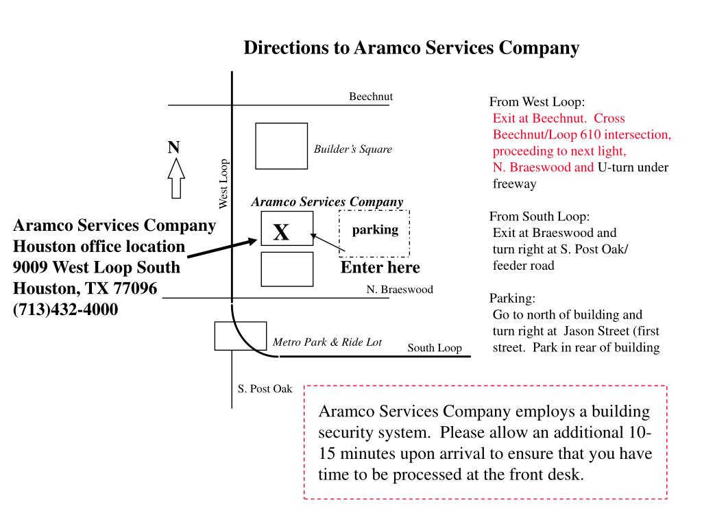 Directions to Aramco Services Company