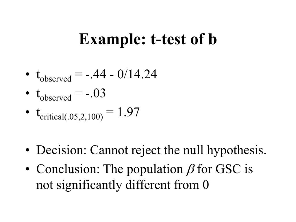 Example: t-test of b