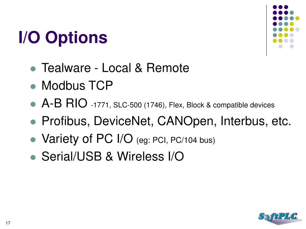 I/O Options