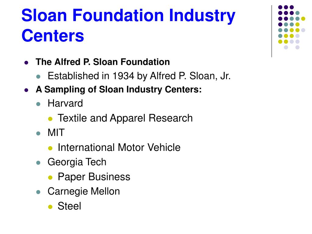 Sloan Foundation Industry Centers