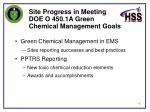 site progress in meeting doe o 450 1a green chemical management goals
