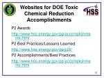 websites for doe toxic chemical reduction accomplishments