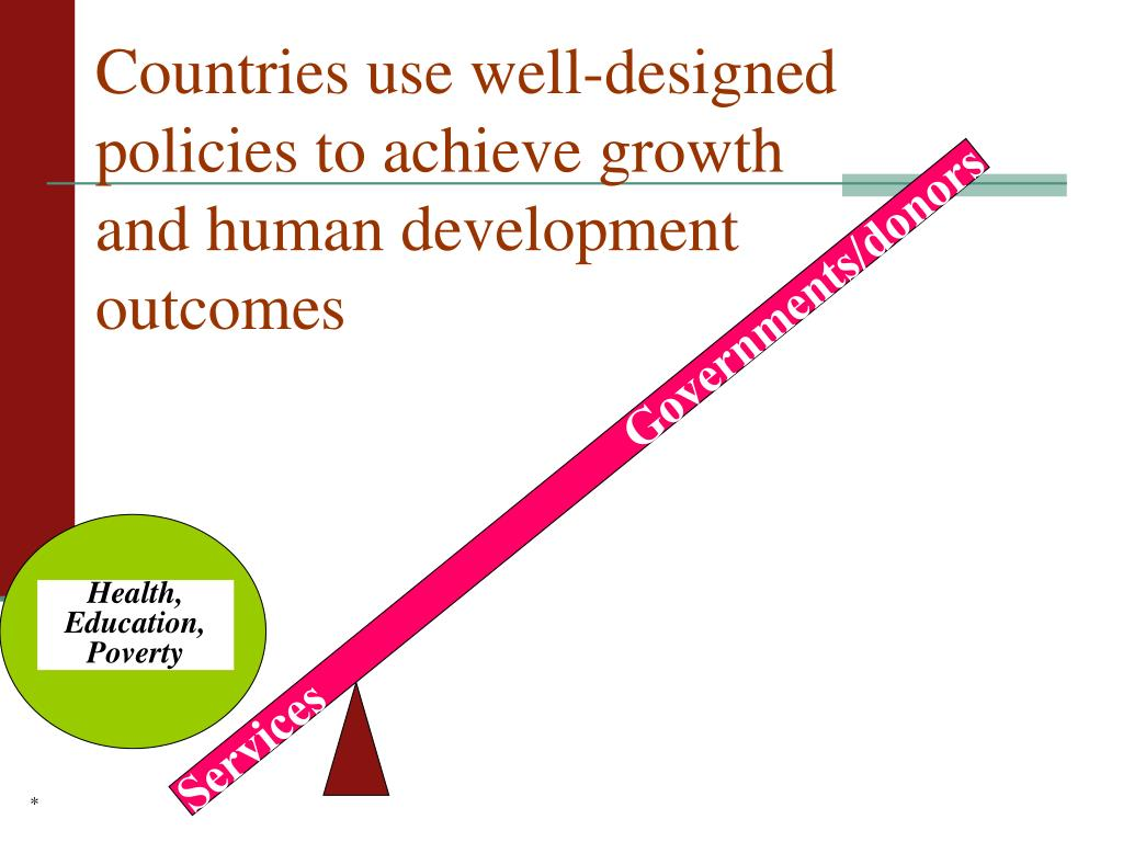 Countries use well-designed policies to achieve growth and human development outcomes