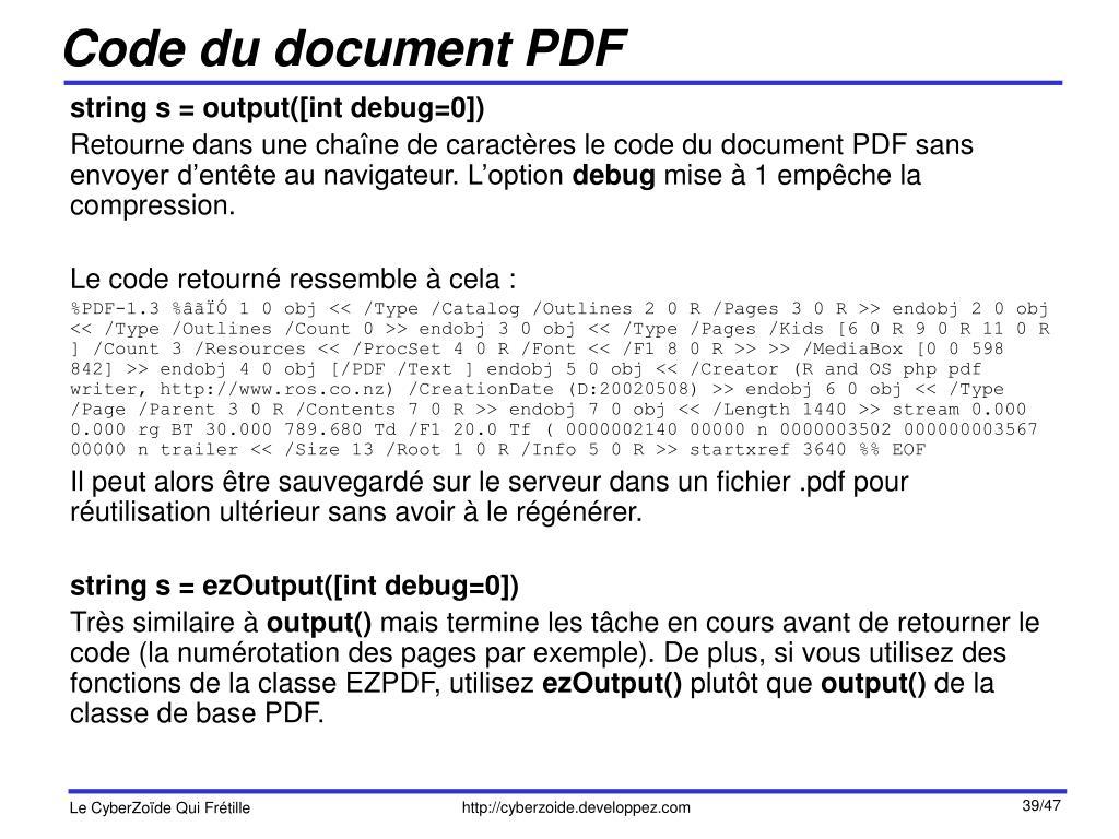 Code du document PDF