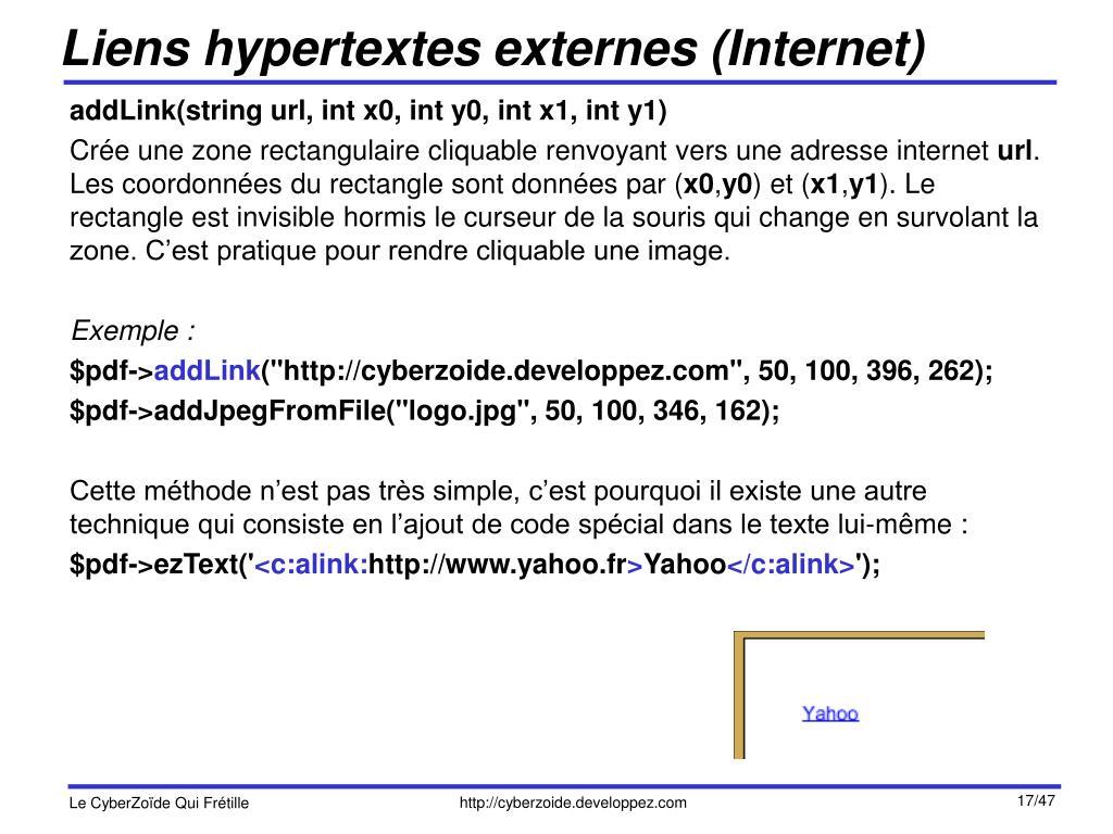 Liens hypertextes externes (Internet)