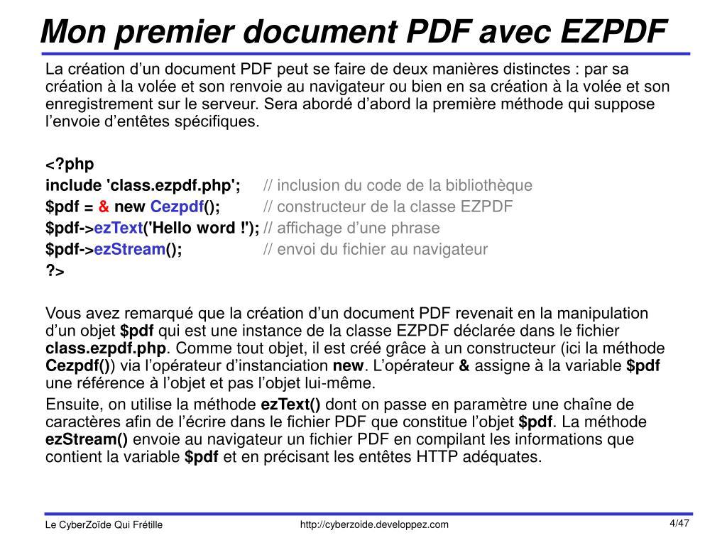 Mon premier document PDF avec EZPDF
