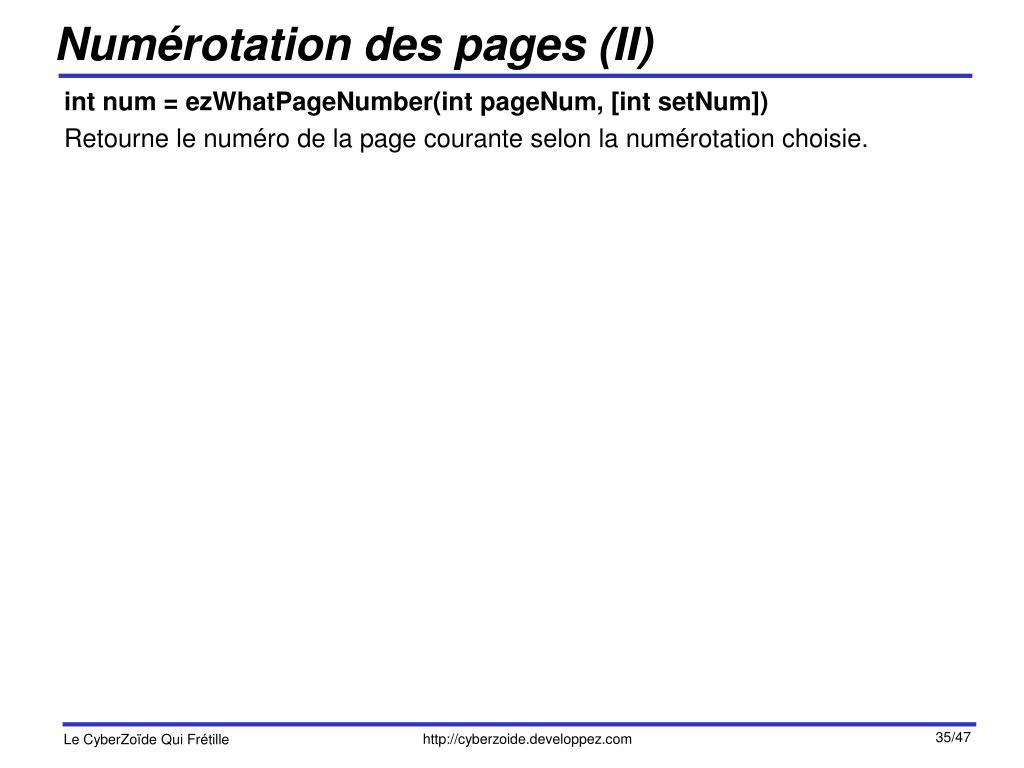 Numérotation des pages (II)