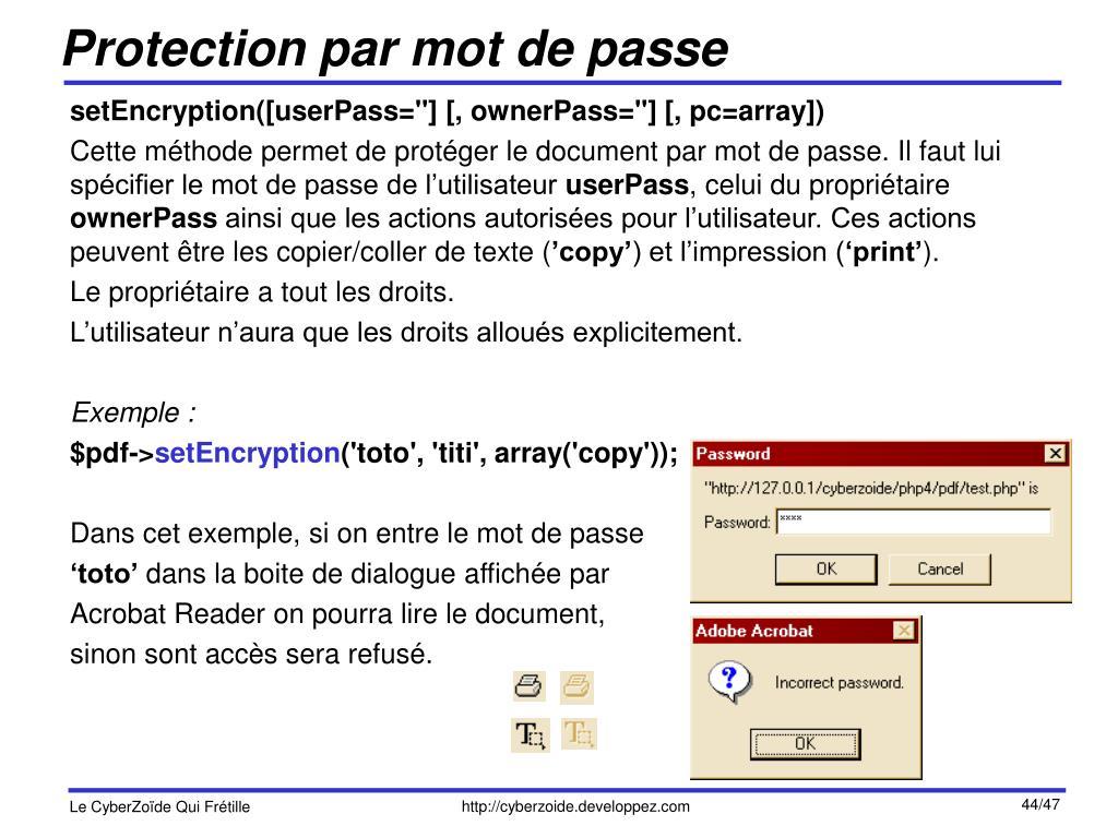 Protection par mot de passe