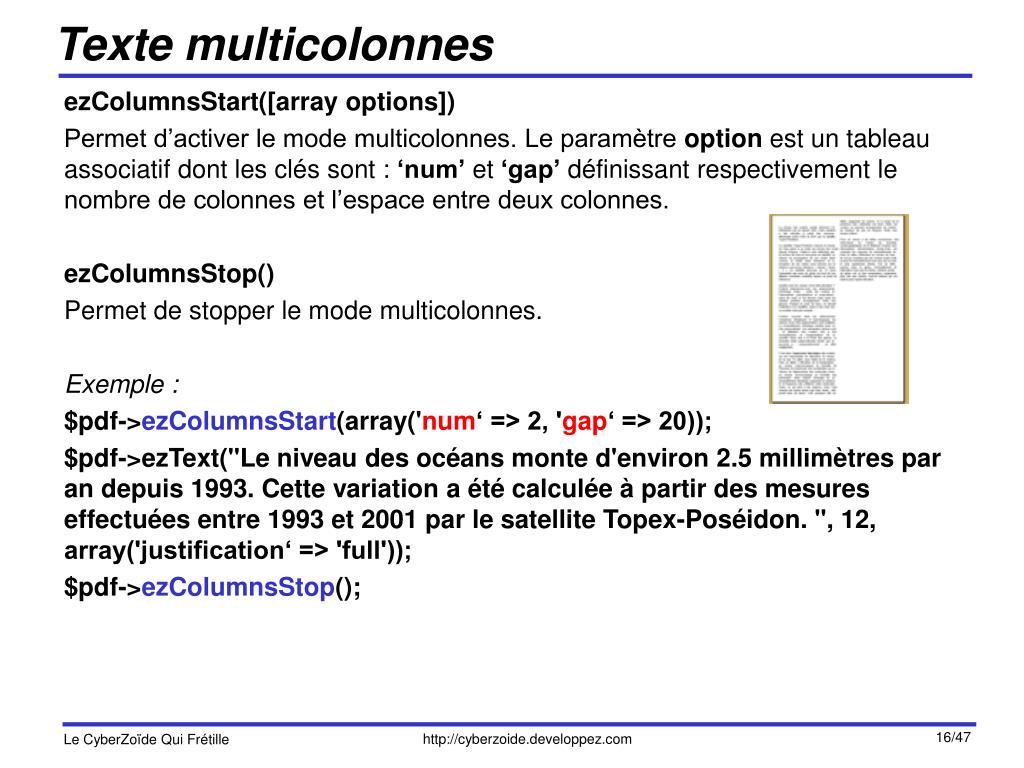 Texte multicolonnes