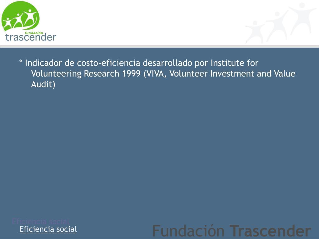 * Indicador de costo-eficiencia desarrollado por Institute for Volunteering Research 1999 (VIVA,