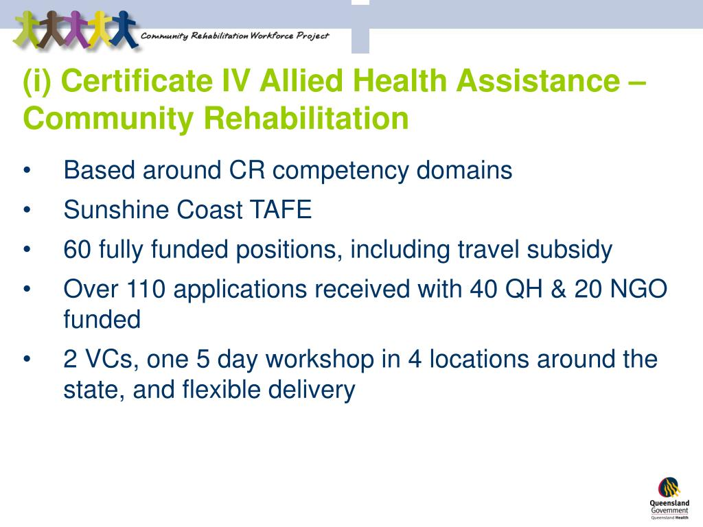 (i) Certificate IV Allied Health Assistance – Community Rehabilitation