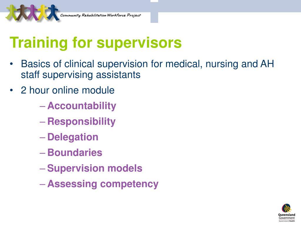 Training for supervisors