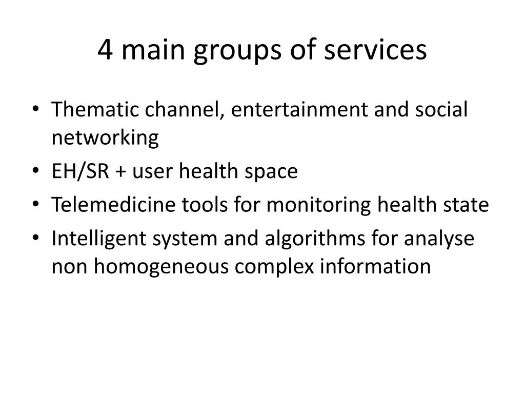 4 main groups of services