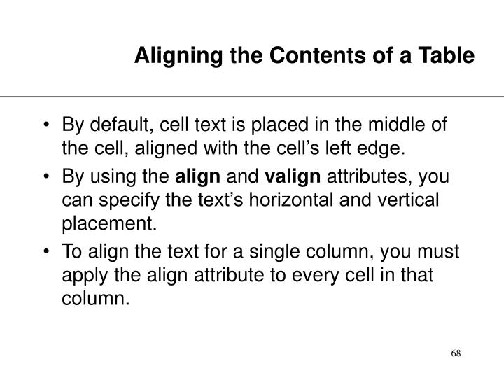 Aligning the Contents of a Table