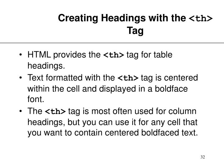 Creating Headings with the