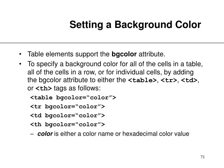 Setting a Background Color