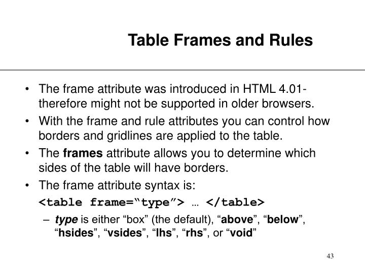 Table Frames and Rules