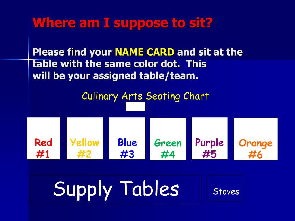 Culinary Arts Seating Chart