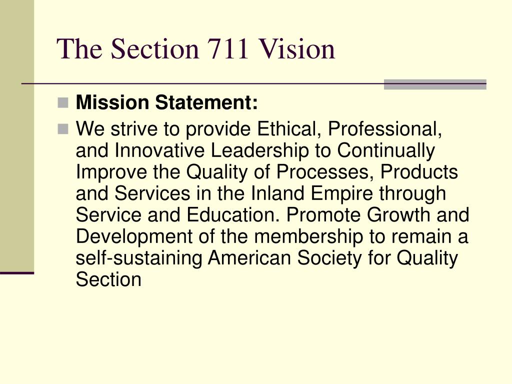 The Section 711 Vision