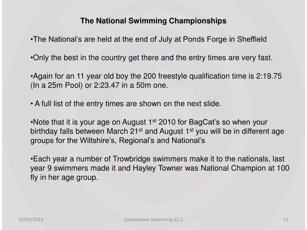 The National Swimming Championships