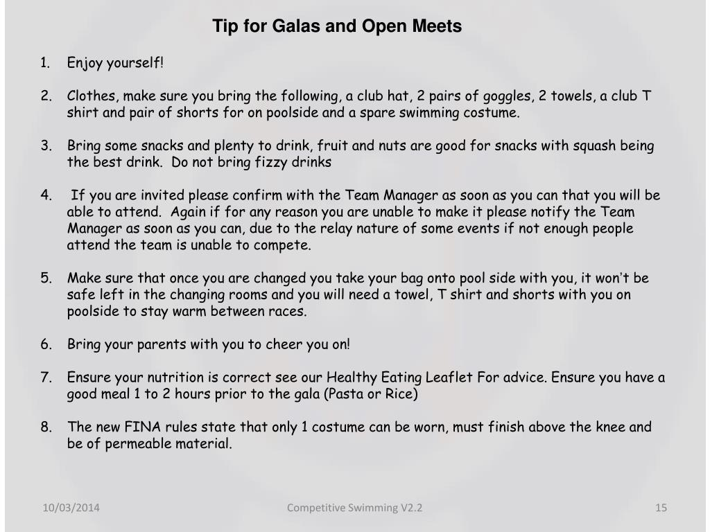 Tip for Galas and Open Meets