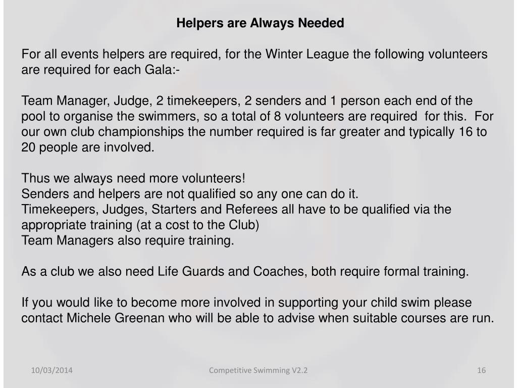 Helpers are Always Needed