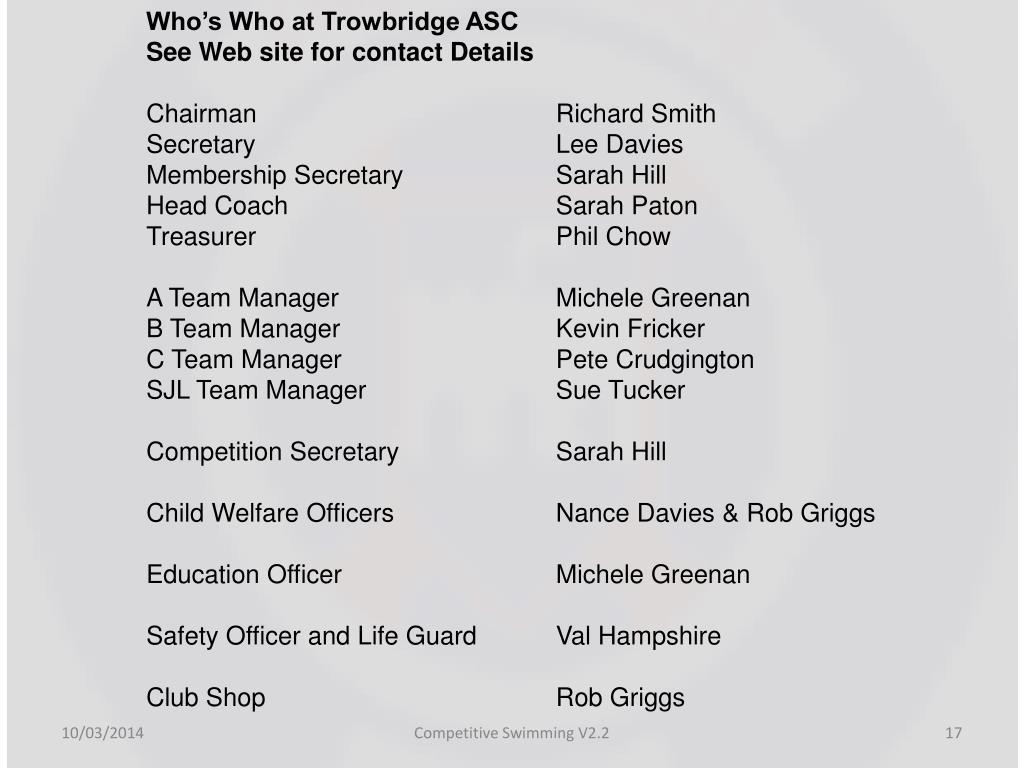 Who's Who at Trowbridge ASC