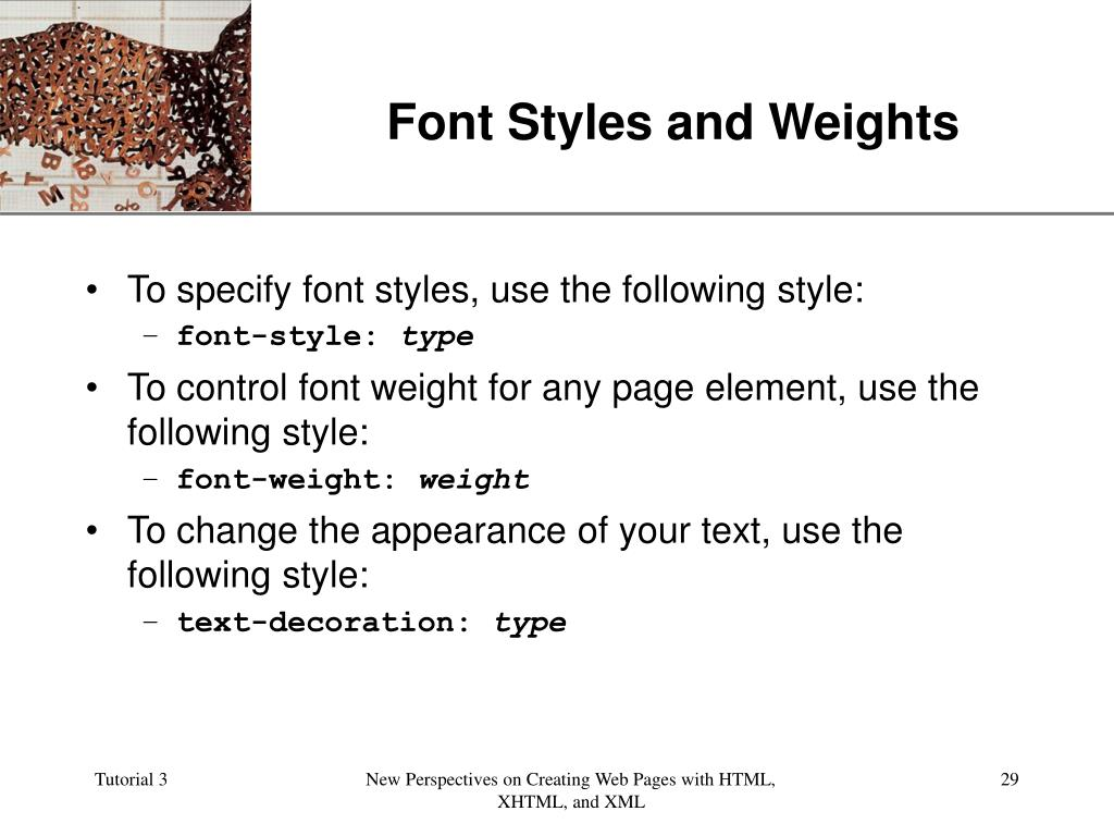 Font Styles and Weights