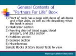 general contents of partners for life book
