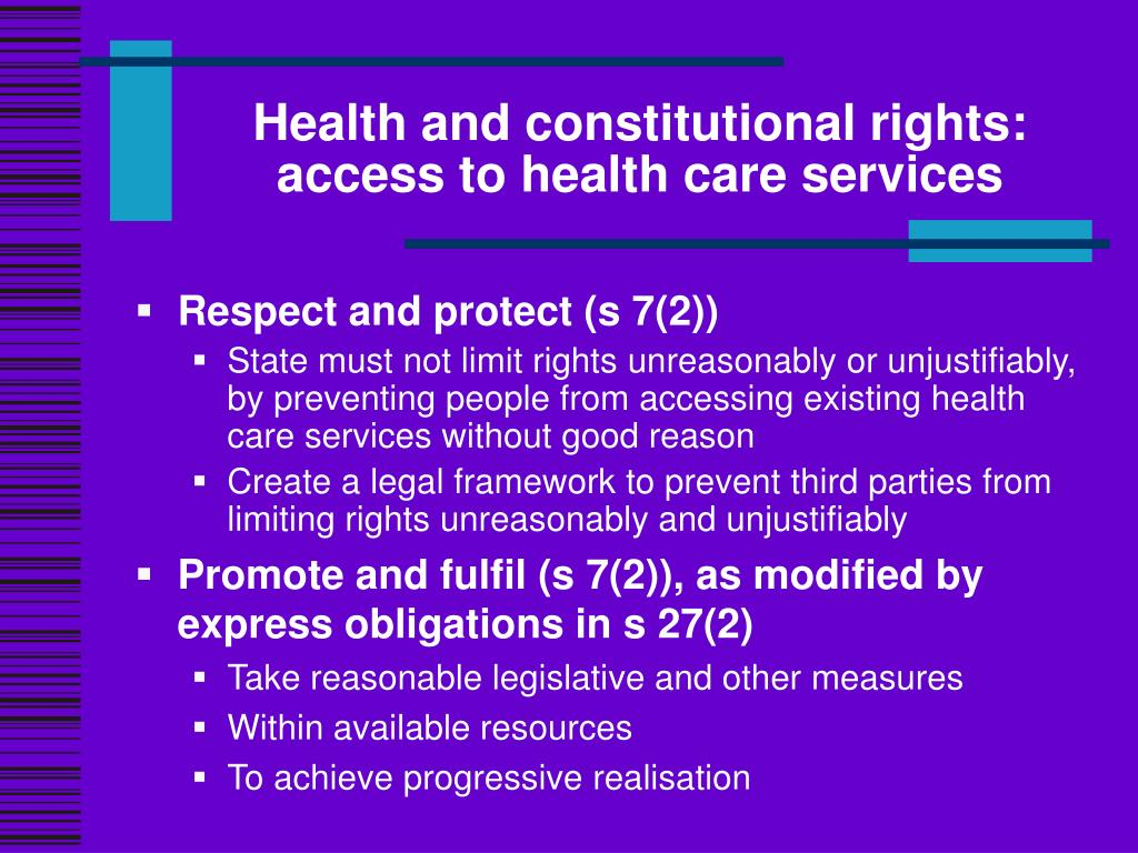 Health and constitutional rights: access to health care services
