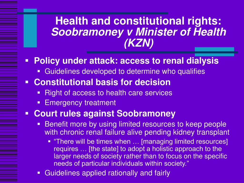 Health and constitutional rights: