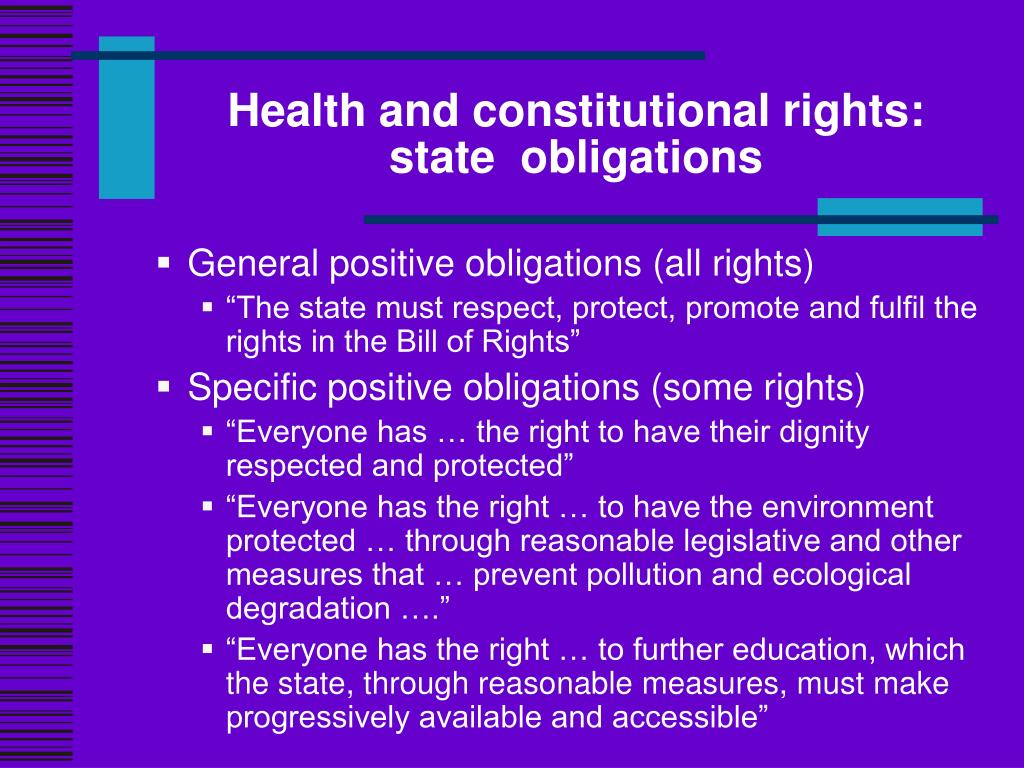 Health and constitutional rights: state  obligations