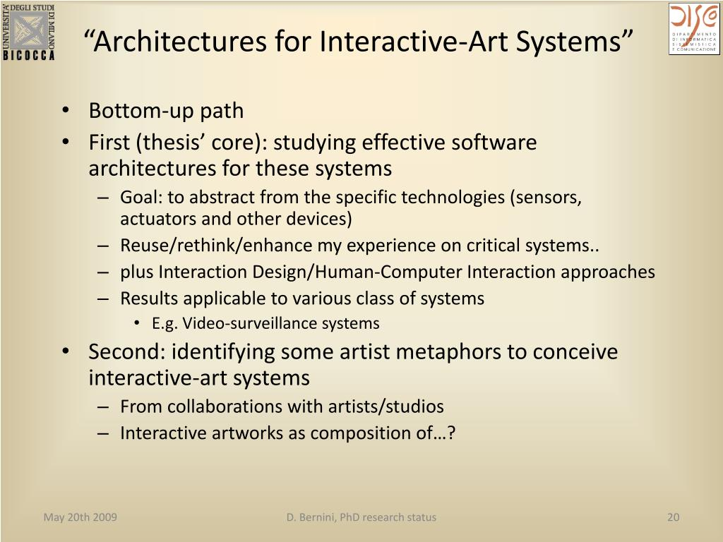 """""""Architectures for Interactive-Art Systems"""""""