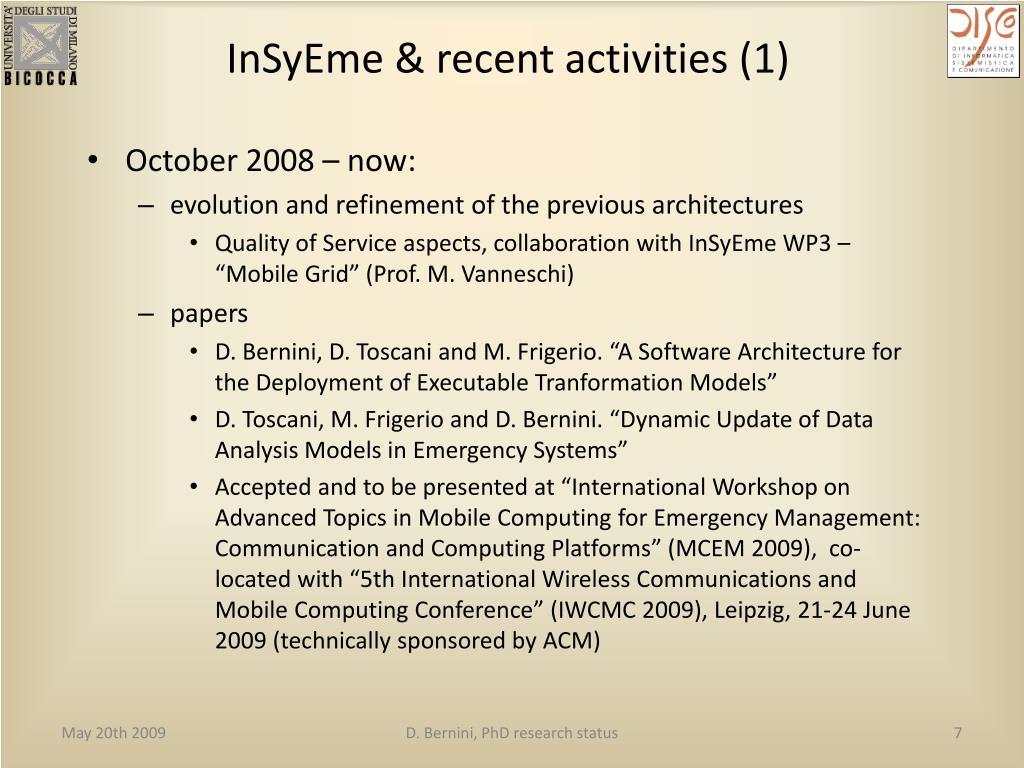 InSyEme & recent activities (1)