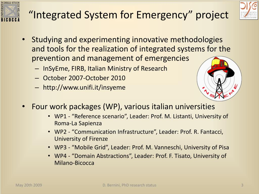 """""""Integrated System for Emergency"""" project"""