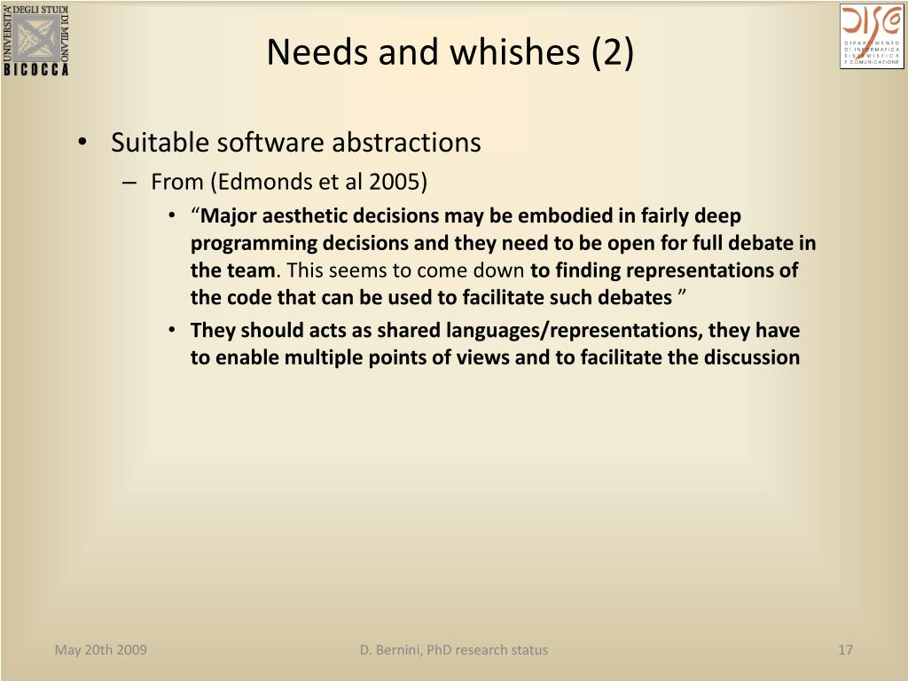 Needs and whishes (2)