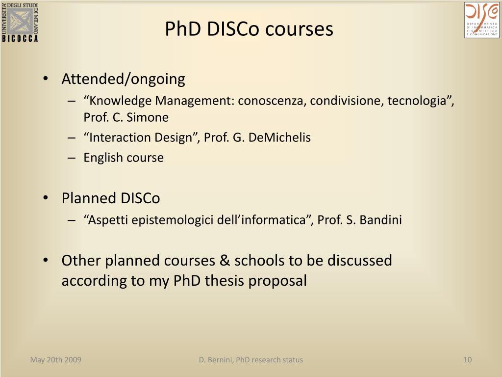 PhD DISCo courses