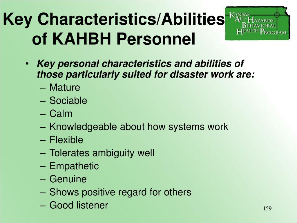 Key Characteristics/Abilities