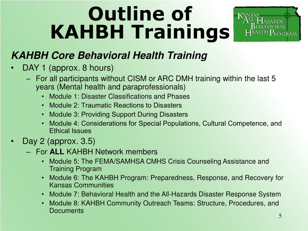 Outline of KAHBH Trainings